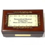 Personalised Musical Trinket Box with photo space, ref MPTB